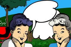 Two gossiping old women with speech bubble Royalty Free Stock Image