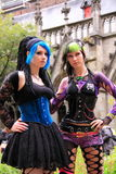 Two gothic girls posing outside Stock Image