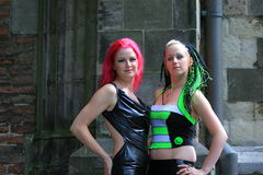 Two gothic girls standing royalty free stock images