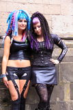 Two gothic girls wearing leather Stock Photography