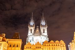 Two gothic towers of Church Of Our Lady Before Tyn at Old Town Square by night. Prague, Czech Republic.  stock photos