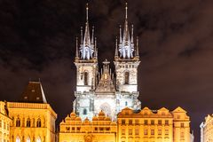 Two gothic towers of Church Of Our Lady Before Tyn at Old Town Square by night. Prague, Czech Republic.  stock photography