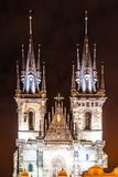 Two gothic towers of Church Of Our Lady Before Tyn at Old Town Square by night. Prague, Czech Republic.  royalty free stock images