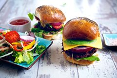 Two gourmet burgers Stock Photo
