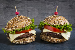Two gourmet hamburgers Royalty Free Stock Photo
