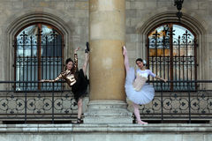 Two graceful ballerinas dancing in a palace Stock Image
