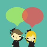 Two graduate speak. Man and woman who is graduate and text box above their head Stock Images