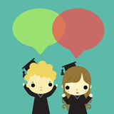 Two graduate speak version2. Man and woman who is graduate and text box above their head Royalty Free Stock Image