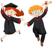 Two graduated students in graduation gowns Royalty Free Stock Photos