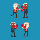 Two grandpa wearing boxing gloves fighting. Vector Two grandpa wearing boxing gloves fighting Royalty Free Stock Images