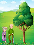 Two grandparents at the hill near the tree Royalty Free Stock Image