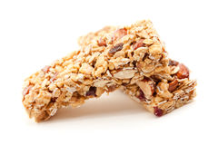 Two Granola Bars Isolated on White Stock Photo