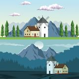 Two graphic frames landscape in daytime and night of field and mountains and house with windmill. Vector illustration Stock Photo