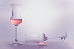 Two Grappa glasses in color of the year 2014 Stock Images
