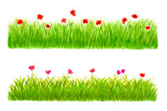 Two Grass Border Pieces Watercolor Hand Drawn Royalty Free Stock Photo