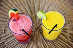 Fresh mango and watermelon smoothie Royalty Free Stock Photography