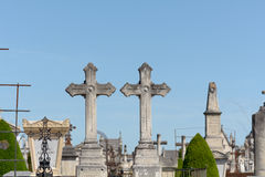 Two grave crosses side by side in cemetery in Bordeaux, Fran Stock Images