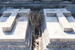 Two Graves with Concrete Cross in The Annual Blessing of Graves at Ratchaburi Province, Thailand Stock Images