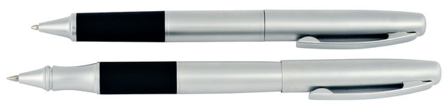 Two gray ball-point pen Royalty Free Stock Images