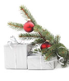Two gray box under the Christmas tree. Stock Photo