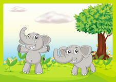 Two gray elephants. Illustration of two gray elephants Royalty Free Stock Images