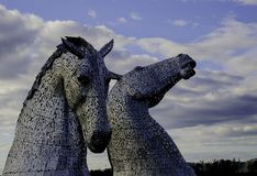 Two Gray Horse Statues stock photo