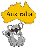 Two gray koalas with Australian continent. Adult and baby koalas sitting under Australian continent Stock Photos