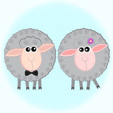 Two gray sheep. Stylized illustration of Two funny gray sheep vector illustration