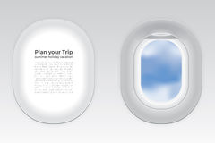 Two gray window plane blue sky cloud view, gray airplane window, gray light template, plain aircraft window white space poster. Two gray window plane with blue Stock Photography