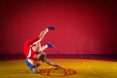 Two greco-roman  wrestlers. In red and blue uniform wrestling  on a yellow wrestling carpet in the gym Stock Images