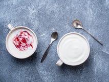 Two greek yogurt in white bowl on grey blue concrete stone table stock photography