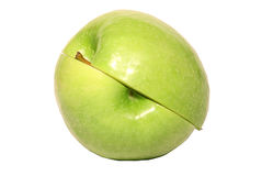 Two green apple halves Royalty Free Stock Photos