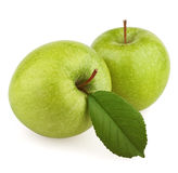 Two green apple with leaf Stock Images