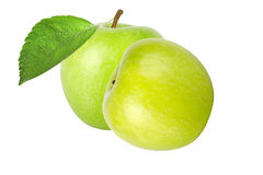 Two green apple with leaf isolated on white background Stock Photography