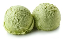 Two green apple mint ice cream balls Royalty Free Stock Photo