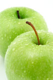 Two green apples stock photos