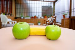 Green apples and banana royalty free stock images