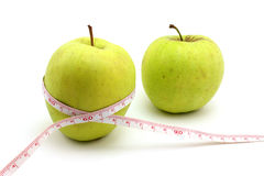 Two green apples Stock Images