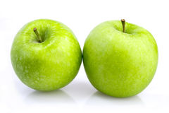 Two green apples Stock Image