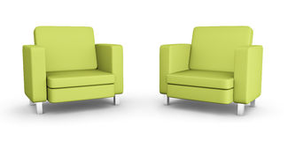 Two green armchairs. High quality 3D rendered image Stock Photography
