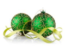 Two green ball with ribbon. Isolated on white background Stock Image