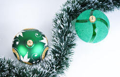 two green balls, white background Stock Images