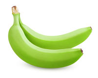 Two green bananas isolated on white Royalty Free Stock Photos