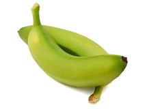 Two green bananas Royalty Free Stock Image