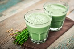 Two green barley grass shots. With blades of young barley on a wooden background Stock Images
