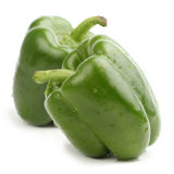 Two green bell pepper. Two fresh green bell pepper, isolated on a white background stock photos