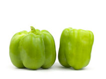 Two green bell peppers Royalty Free Stock Photos