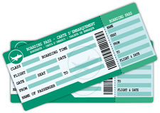 Two green and blue boarding passes. Royalty Free Stock Photo