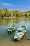 Two boats on the river bank royalty free stock photos