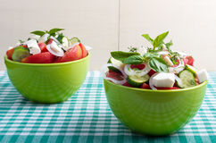 Two green bowl with vegetable vegetarian salad Royalty Free Stock Images